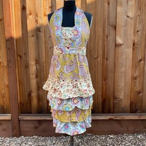 Anthropologie paisley ruffled tiered halter apron